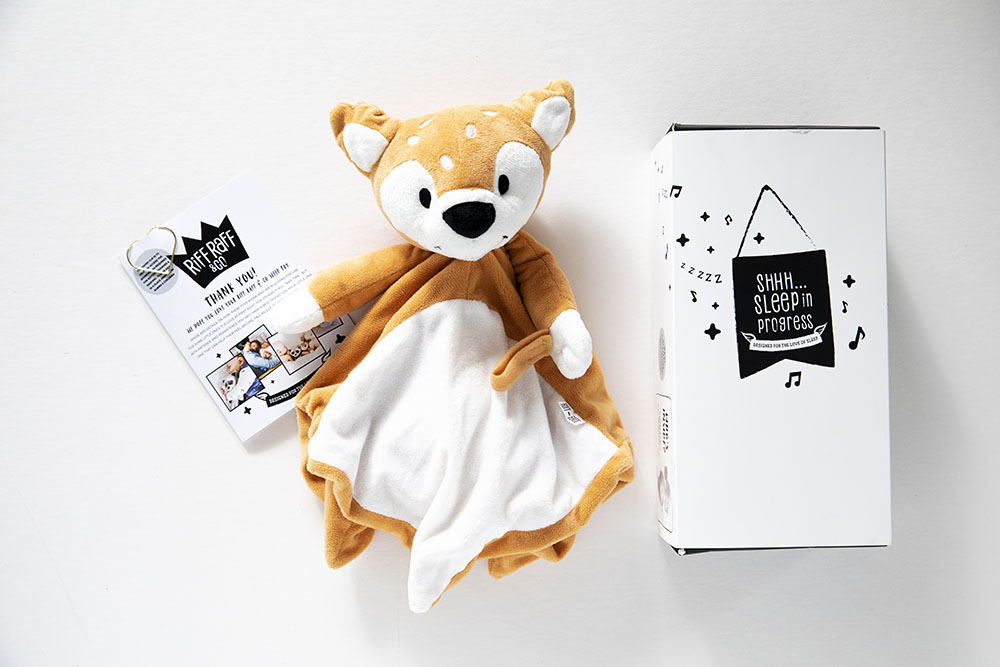 Box, brochure and soft toy from Riff Raff & Co