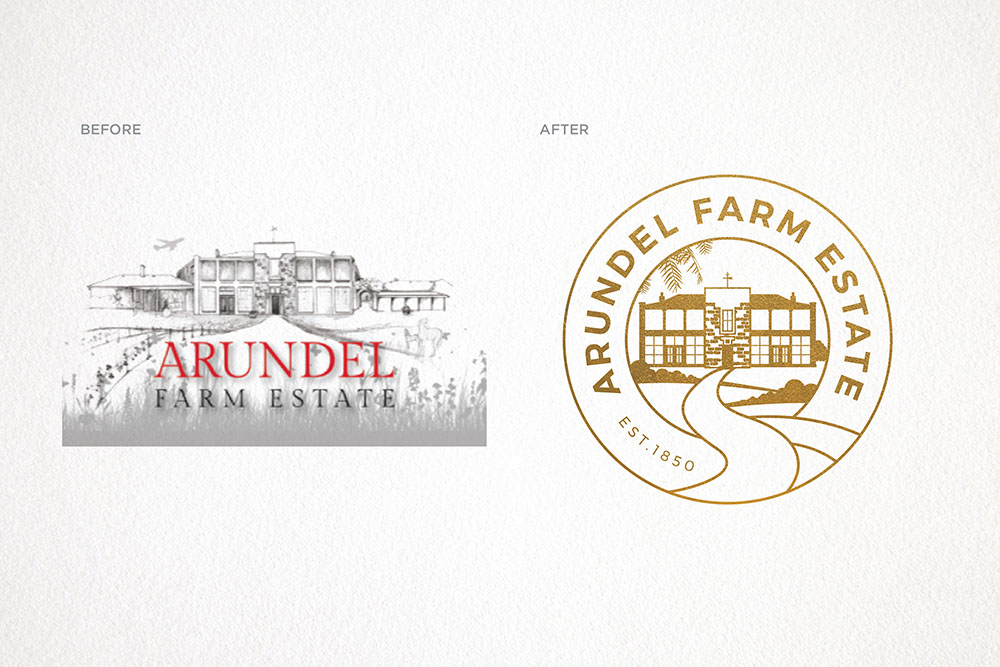 Before and After of Arundel Farm Estate logos