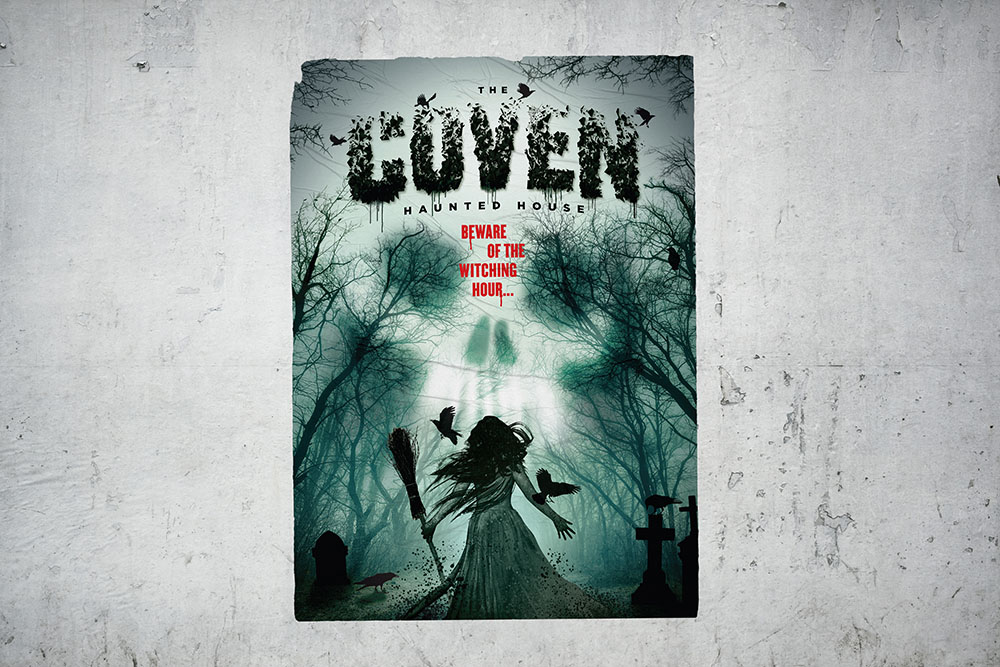 Poster mock up of halloween style Coven haunted house