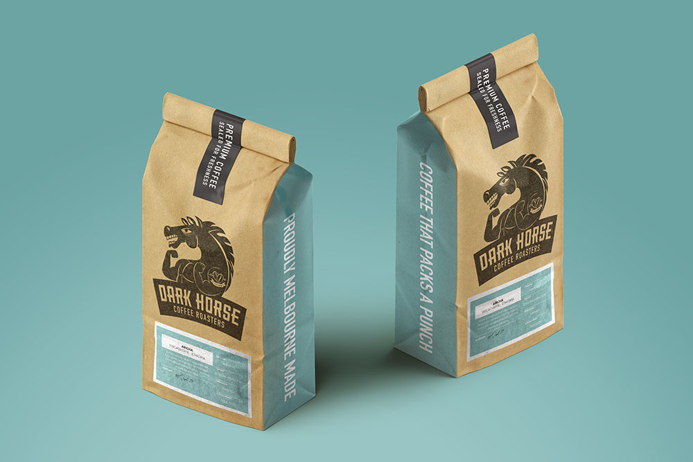 2 packets of Dark Horse Coffee Beans