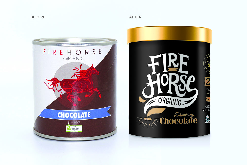 Before and after picture of Fire Horse Organic drinking chocolate packaging