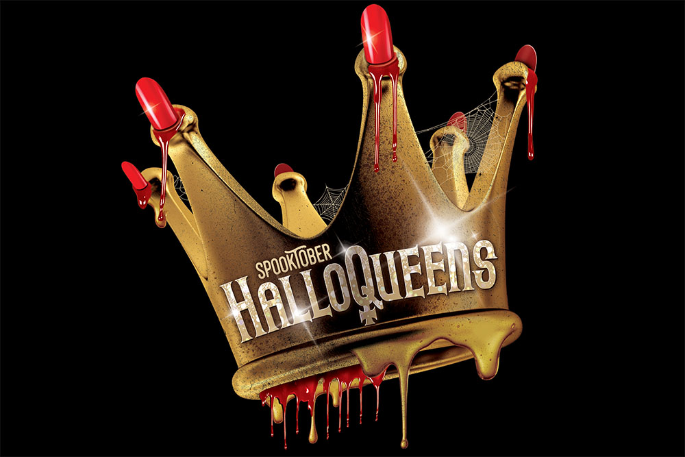 Halloween style gold crown on black background