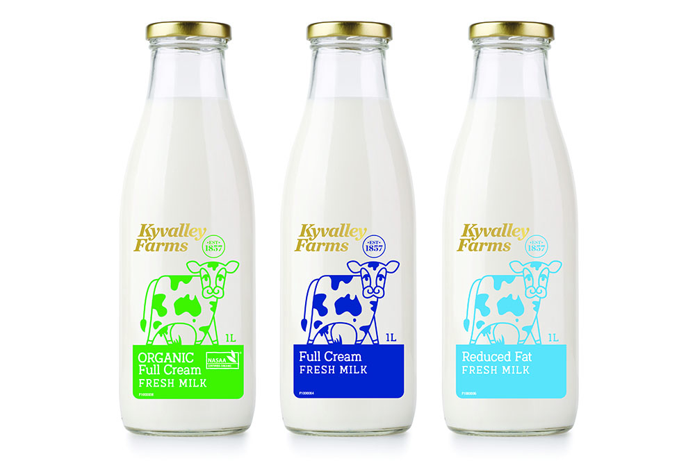 three bottles of milk