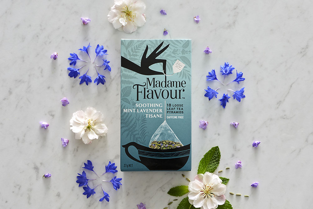 Madame Flavour Tea box, styled with flowers