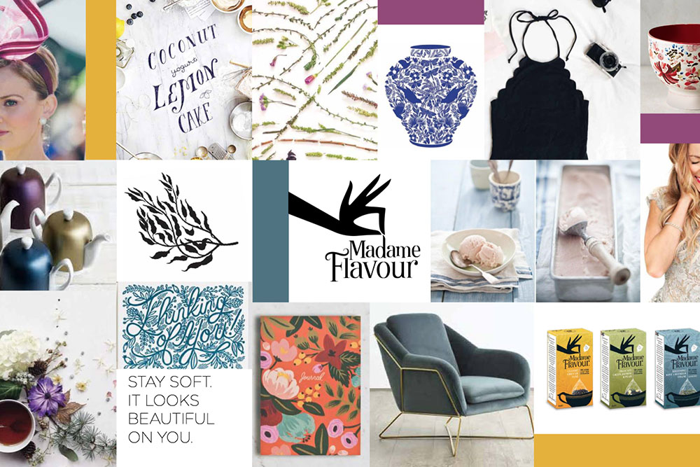 Brand Inspiration board for the Madame Flavour Tea brand