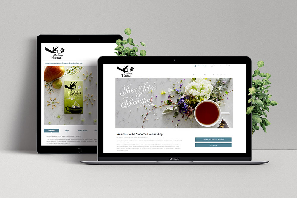 iPad and Laptop mock up of Madame Flavour Tea website