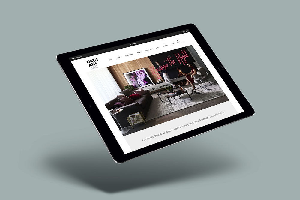 iPad with mock up of Nathan & Jac website
