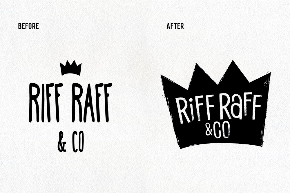 Before and After Riff Raff & Co logos