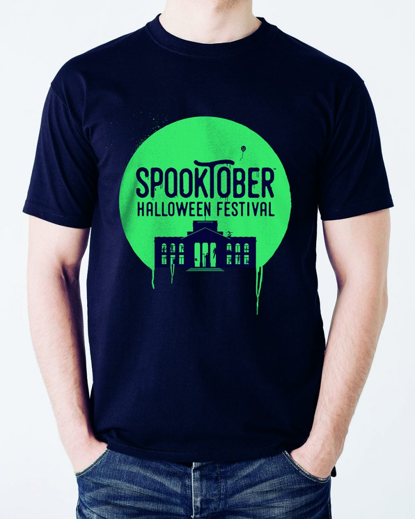 close up of man in blank t-shirt with Spooktober logo mock up