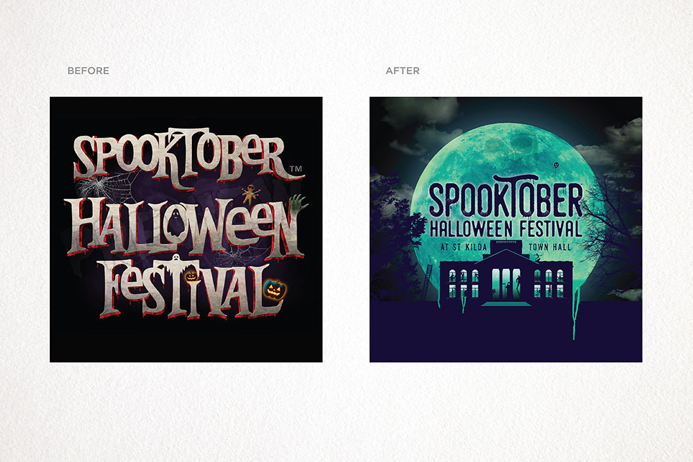 Spooktober before and after branding