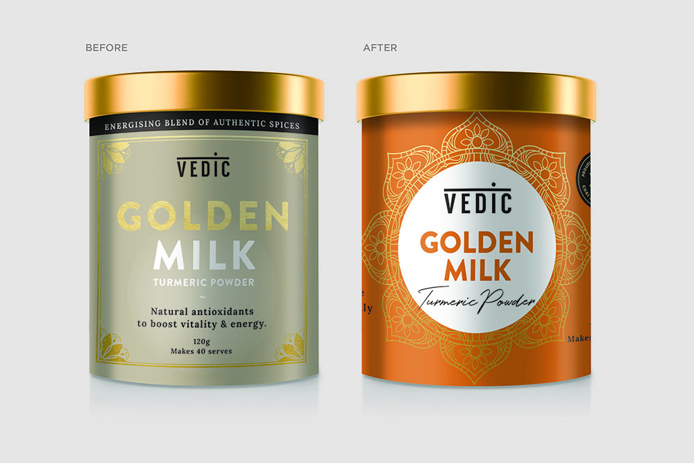 Before and After Vedic Golden Milk packaging