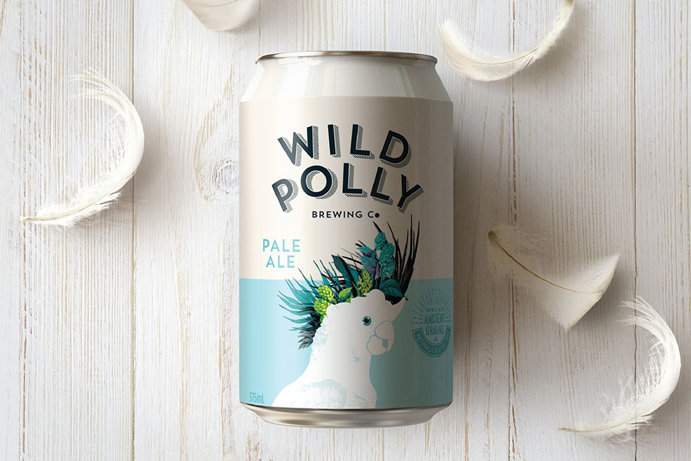Wild Polly Beer Can on wooden background with feathers